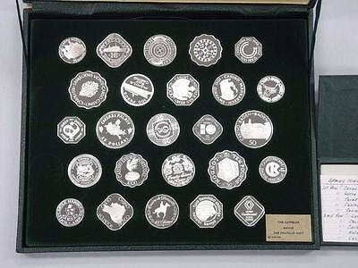 "25 Sterling Silver ""Official Gaming Coins of the World's Great Casinos"" Case COA"