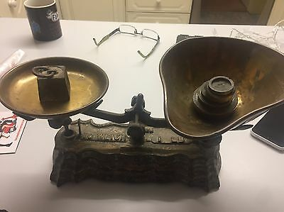 Early Iron Kitchen Scales With Original Brass Scoops and Weights