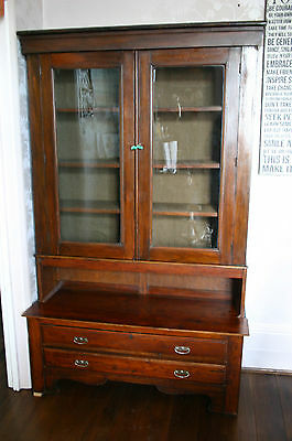 Old Glass Fronted Display Cabinet with Drawers