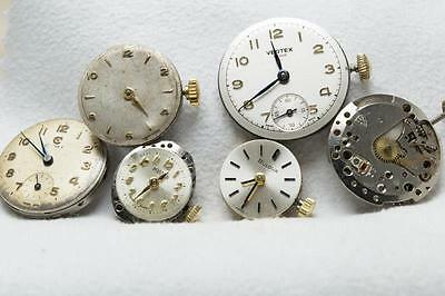 6 x Mid / Ladies Watch Movements For Spares or Repair - Cyma Roamer Certina ETC