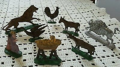 King and Baby Jesus plus misc 8 pc lead set of varied animals.