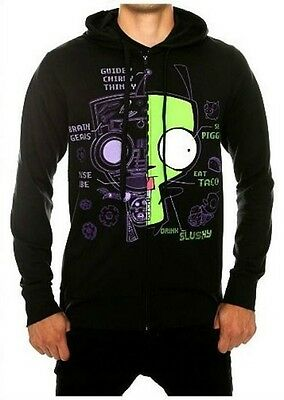 Rare! Licensed Invader Zim Gir Dog Suit XRay Robot Hoodie-Men's L NEW! HTF NWT!