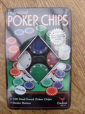 100 Professional Poker Chips In Tin - New & Sealed