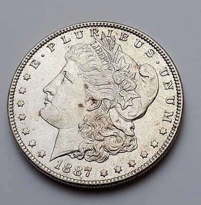 U.s.a - Dated 1887 - Silver - Morgan - $1 One Dollar Coin - American Silver Coin