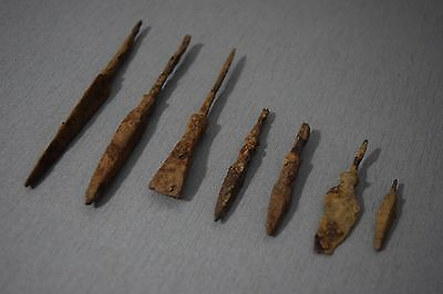 7 ORIGINAL IRON ARROWHEADS Metal Detector Find Ancient ROMAN MEDIEVAL ARTIFACTS