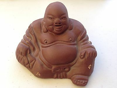 Vintage Chinese Happy Laughing Terra Cotta Buddha Lucky Feng Shui Charm Statues