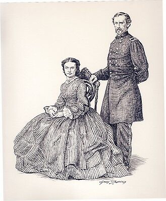 Original Drawing by Gary Zaboly GEORGE AND LIBBIE CUSTER IN 1864