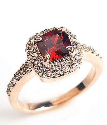 Eternity Friendship Journey 18K rose gold  3.75 ct Square Red Ruby ring size 7-8