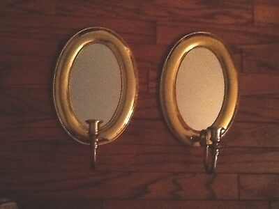 Two Brass Candle Sconces With Mirrors