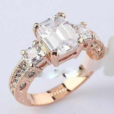 banquet Anniversary 18K rose gold  3.75 ct wedding ceremony ring size 8