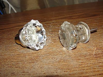 Vintage Pair Of Glass Doorknobs - Brass? - Nice Find - See Photos - Lot P87