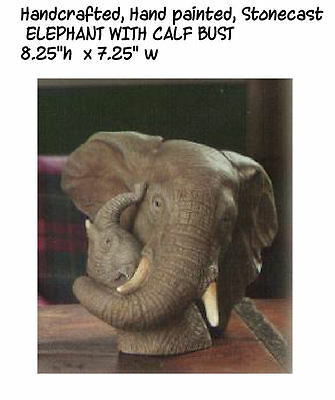 New - Elephant Bust with Calf Figurine Boxed
