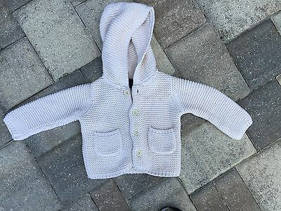 Girl's Baby Gap Hooded Cable Cream Sweater 6-12 Months Heavy 4 Buttons
