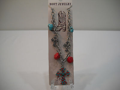 My Style Western Boot Jewelry Cross Charm Turquoise Boot Bracelet New