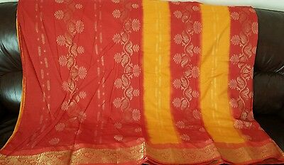 Red Mustard Gold Floral Zari Mendhi Party Traditional Festival Cotton Saree Sari