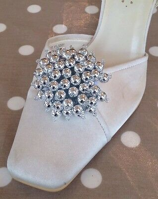 Sammie Silver Tone SHOE CLIPS  BRIDAL WEDDING Shoes *free Shipping**UK SELLER*