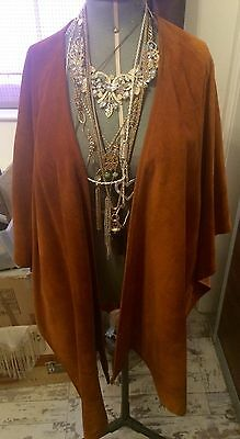 Women's Vintage Brown Tan Real Suede Lined Shawl Throw Wrap Free Size Made In UK