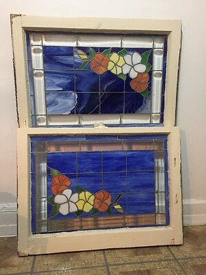 2 Old Windows Sashes Stained Glass