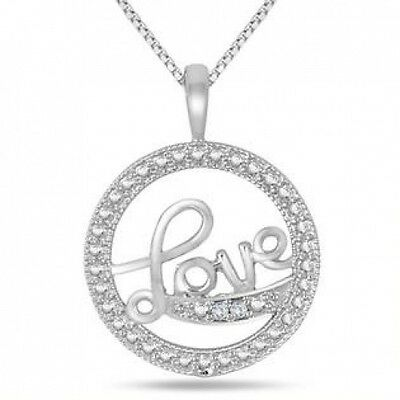 Diamond LOVE Pendant in .925 Sterling Silver. Free Shipping