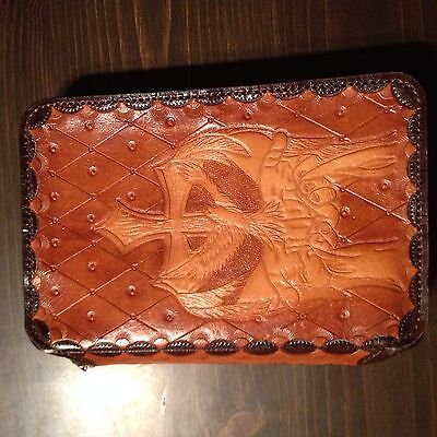 Leather Bible Cover Hand Tooled Cross Doves Praying Hands (PRICE REDUCED)
