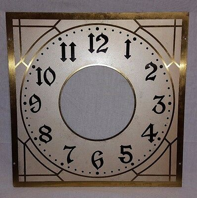 "Antique Early Grandfather Long Case Brass Clock Face 13 7/8"" X 13 7/8"" Nice !!!"