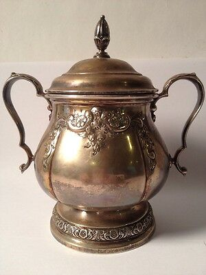 INTERNATIONAL STERLING SILVER PRELUDE Hand Chased COVERED SUGAR BOWL (w/ Lid)