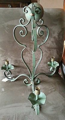 Vintage European Tole Wrought Iron Metal Chandelier Very Old!