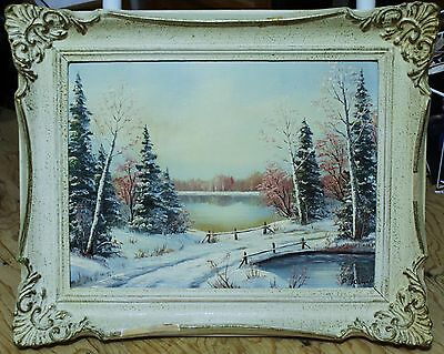 "Framed Oil Painting On Board - Winter Scene Landscape - Signed ""Jalava"""