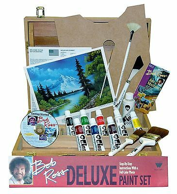 Weber R6512 Bob Ross R6512 Deluxe Wood Box Master Paint Set With One Hour DVD