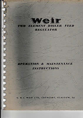 Weir Two Element Boiler Feed And De-Oiler   Operation Instructions.