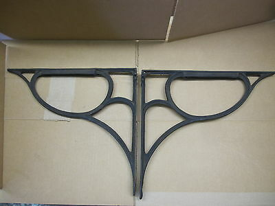 2 Antique Cast Iron Shelf Sink Brackets Garden Counter Supports Salvage Rust