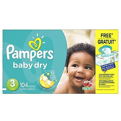 Pampers Baby Dry Diapers Size-3 Super Pack 104-Count- Packaging May Vary