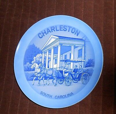 Vintage Blue Charleston South Carolina Carriage Plate 8.5 Inches Made in Japan