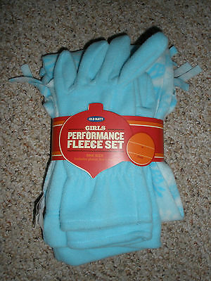 NWT New Girl's Old Navy Performance Fleece Set Gloves, Hat, & Scarf One Size