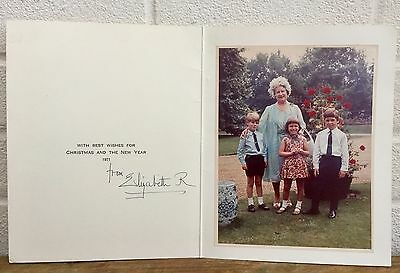Hand Signed Autograph -Elizabeth Royal, Queen Mother- 1971 Christmas Family Card