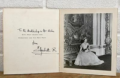 Hand Signed -Elizabeth Royal, Queen Mother- Archbishop Canterbury Christmas Card