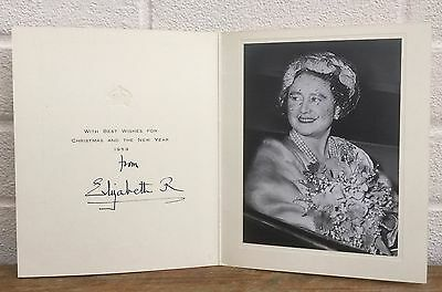 Hand Signed Autograph -Elizabeth Royal, Queen Mother- 1959 Christmas Year Card
