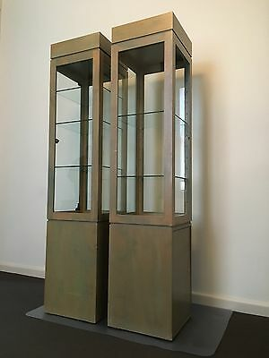 2 X Display Cabinets Lockable with Key Solid Ply Timber