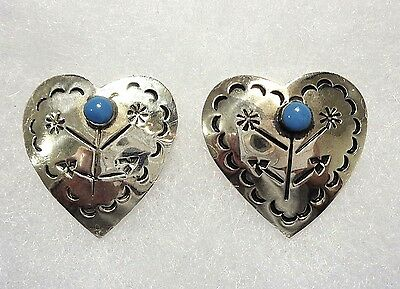 Vintage Taxco Sterling Silver & Turquoise Stamped Heart Earrings