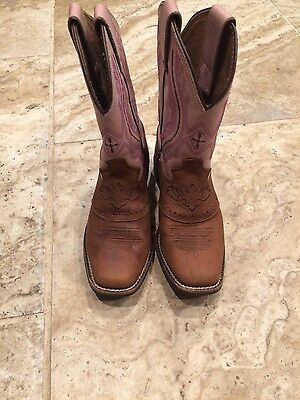 15837 Girls JUSTIN PInk Brown Cowgirl Boot Square Toe - Youth Shoe Size 1.5 D??