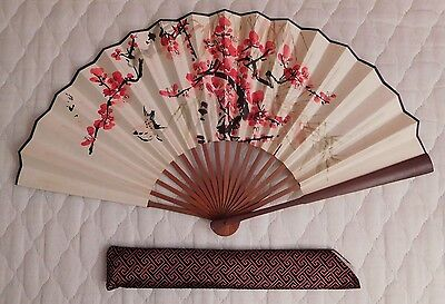 Oriental Chinese Japanese Folding Bamboo Wood Double Sided Fan With Pouch