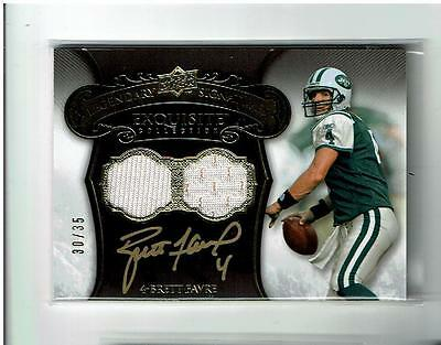 Brett Favre Auto Dual Jersey 30/35 2008 Exquisite Green Bay Packers Jets