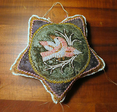 Old Well Beaded Iroquois Star Pin Cushion Pincushion With Bird Beadwork