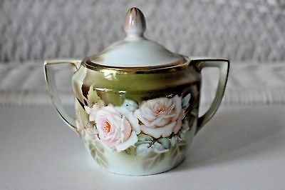 Vintage WEIMAR Germany Covered SUGAR BOWL with ROSES Stunning!