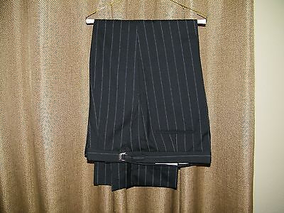 Mens After Six Prom Zoot Suit Black  Pinstripe Tuxedo Pants Preowned Size 54-56