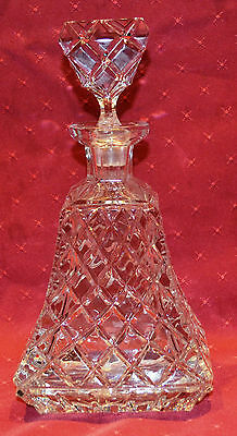 Cut Glass Decanter, Bell Shaped, 2kg in Weight, Lead Crystal?, As Is