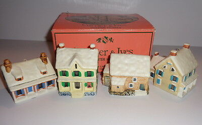 Vintage Christmas,set of 4 Currier & Ives winter homes ornaments, Harry T Peters