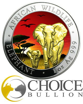 2015 Somalia Elephant at Sunset Silver Coin - 1oz 999 Silver Coin - Only 500!