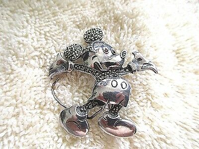 Sterling Brooch Mickey Mouse With Marcasites