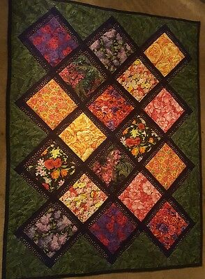 "HomeMade Cotton Throw Quilt Pieced Patchwork Flower Squares Quilted  54x70"" Nice"